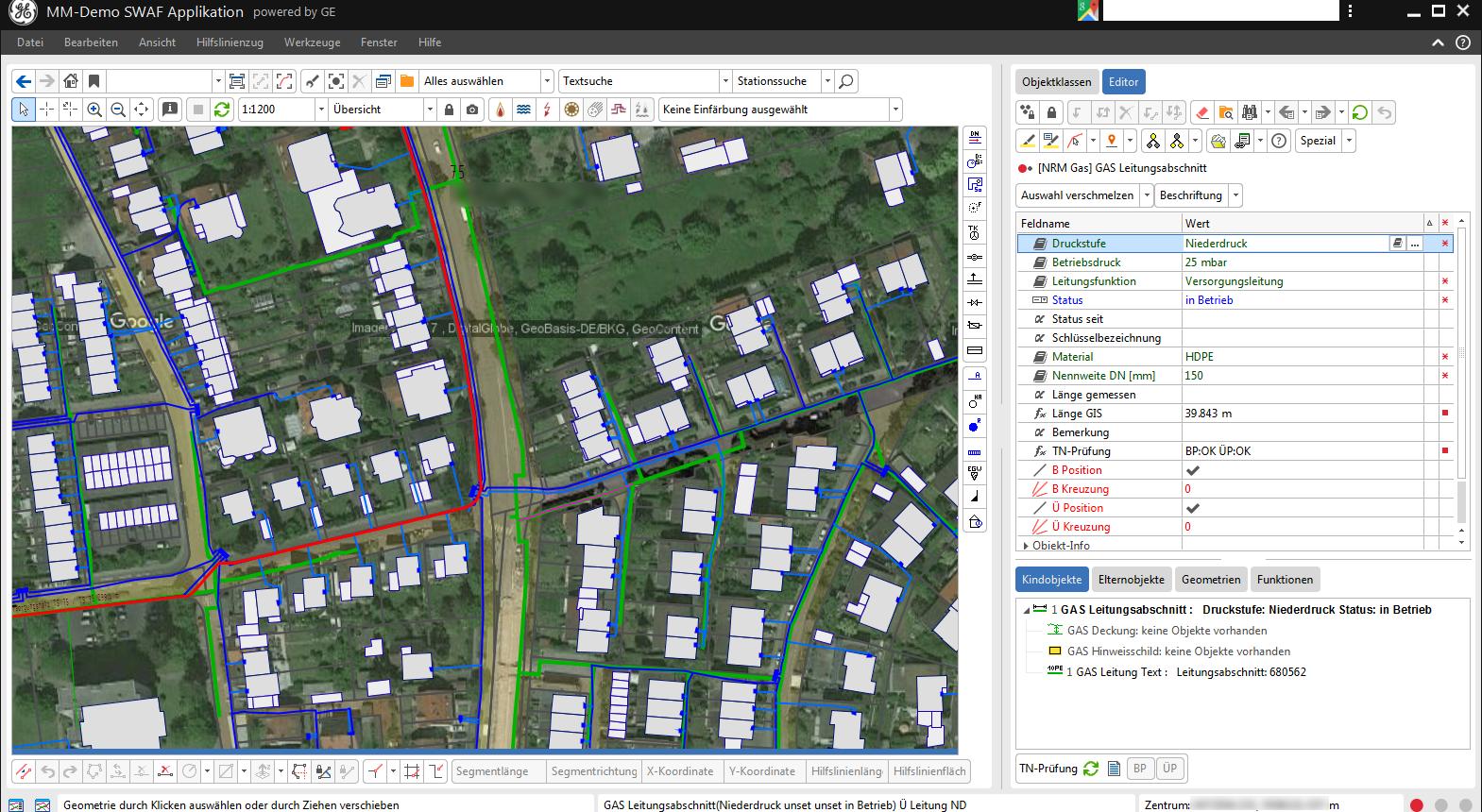 Smallworld 5 - Fachschale Gas mit Googledaten