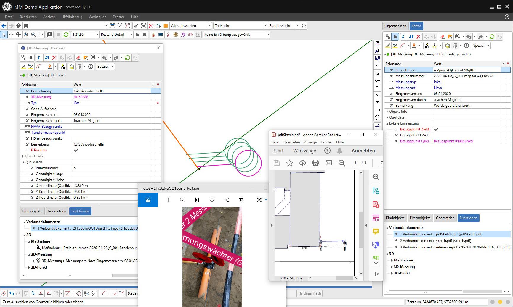 3D-Punkt, 3D-Messung mit Foto und PDF-Skizze