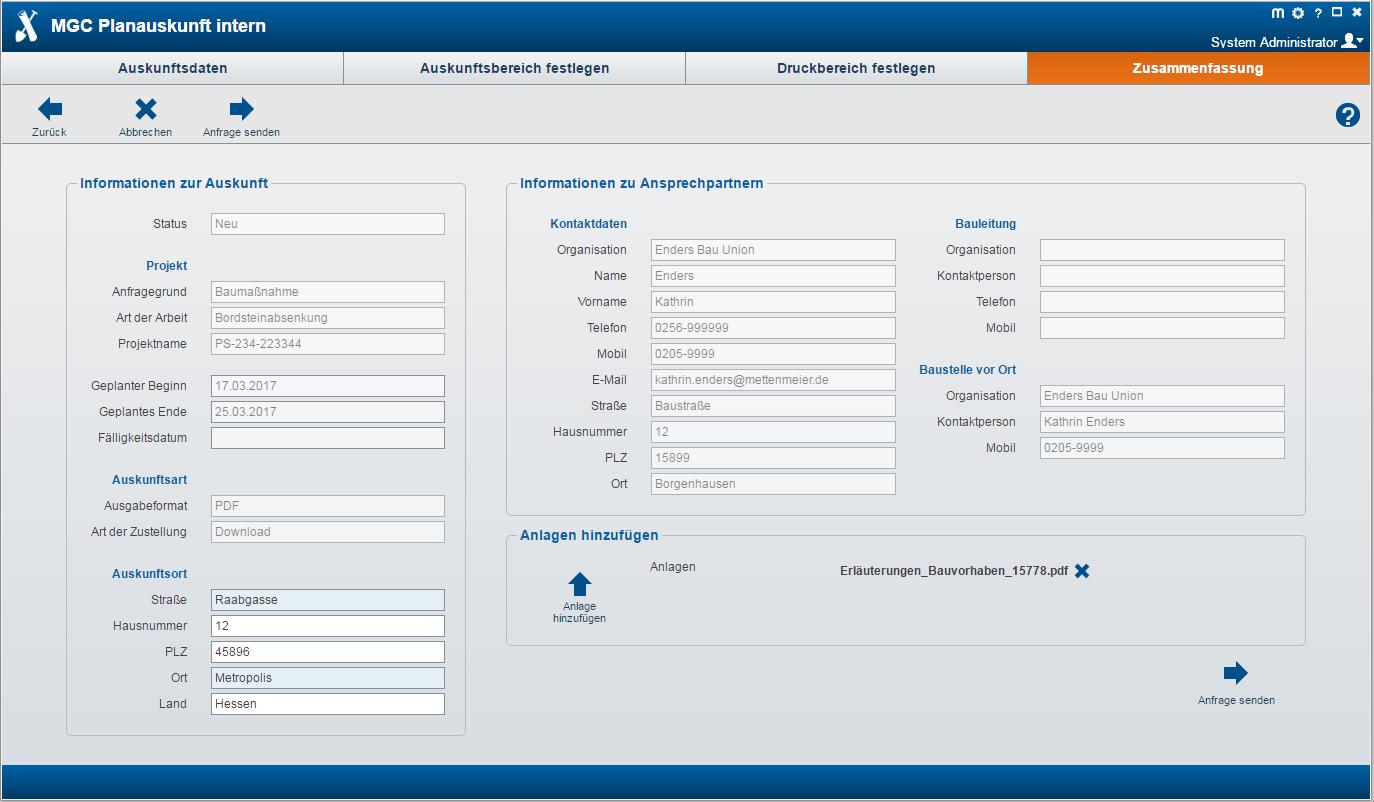 MGC Planauskunft Intern - Zusammenfassung Funktionen