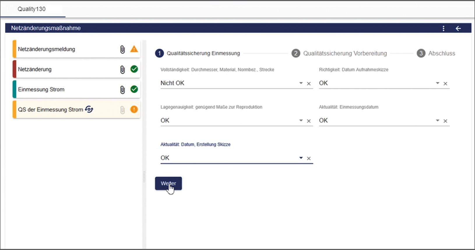 Quality130 Workflow für die Netzdokumentation